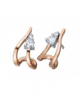 White and Rose gold earrings Diamonds