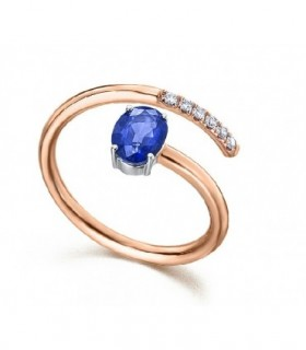 White and rose gold ring with blue Sapphire and Diamonds