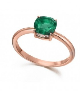 Rose gold ring with Diamonds and Emerald