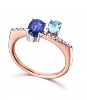 Rose and white gold ring with Diamonds and Sapphire and Aquamarin