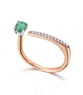Rose ring gold with Emerald and Diamonds