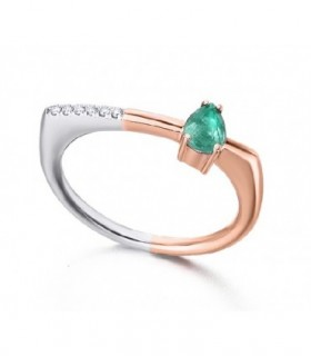 Rose and white gold ring with Emerald and Diamonds