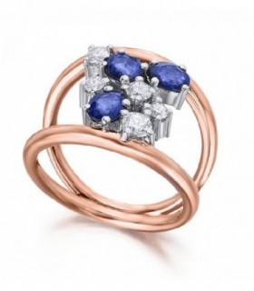 White and rose gold ring with blue Sapphires and Diamonds