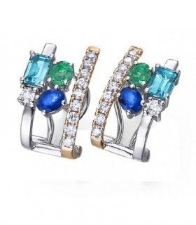 Rose and white gold earrings with Diamonds, Emerald, Shappire and Topas
