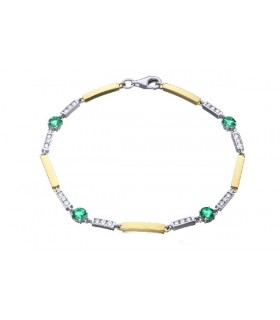 White and yellow gold bracelet with  Diamonds and Emeralds