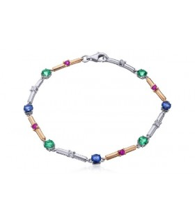 White and rose gold bracelet with Ruby, Sapphire, Emerald and Diamonds