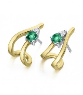 White and yellow gold earrings with Emerald and Diamonds