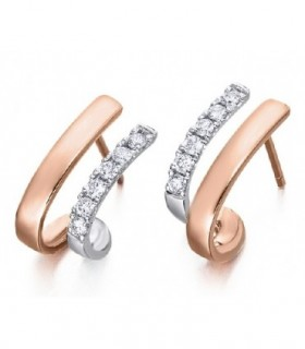 White and rose gold earrings with Diamonds
