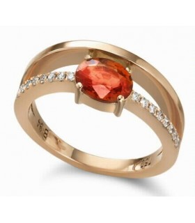 Rose gold ring with  orange Sapphire and Diamonds