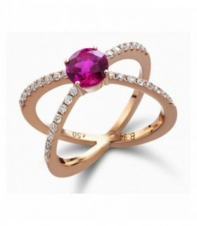 Rose gold ring with Ruby and Diamonds