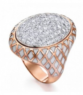 Rose gold ring with Enamel and Diamonds