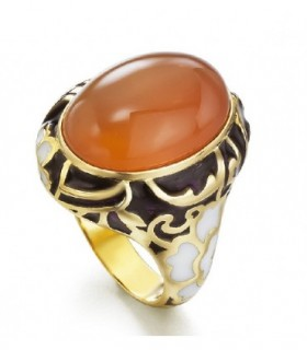 Yellow gold ring with Cornelian and enamel