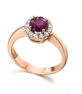 Rose gold ring with Diamonds and Ruby