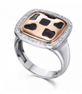 White and rose gold ring with diamonds and enamel