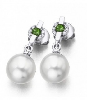 White gold earrings with Australian Pearls, Diamonds and Tourmaline