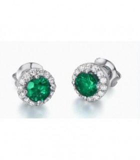 Diamond halo earrings in white gold with Emerald