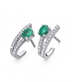 White gold earrings and Diamonds and Emerald