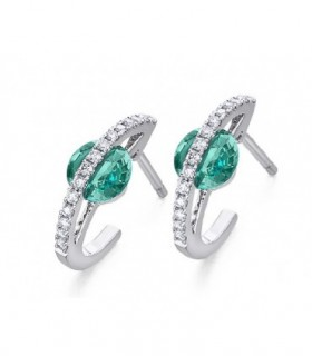 White gold earring with Emerald and Diamonds