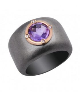 Rose gold and silver ring with Diamonds and Amethyst