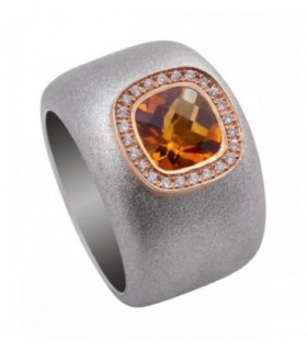 Rose gold and silver ring with Diamonds and Citrine