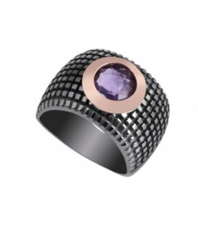 Rose gold and silver ring with Amethyst