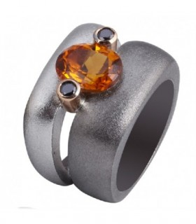 Rose gold and silver ring with Citrine and black Diamonds