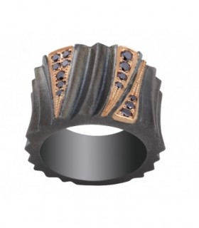 Rose gold and silver ring with black Diamonds