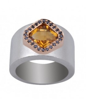 Rose gold and silver ring with black Diamonds and Citrine