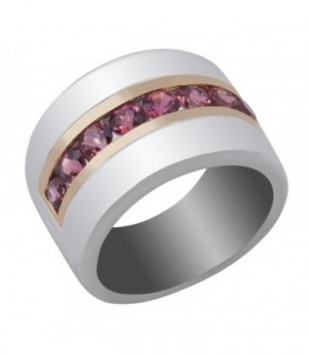 Rose gold and silver ring with rose Tourmalines