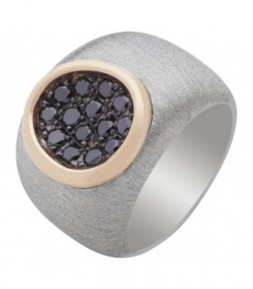 Yellow gold and silver ring with black Diamonds