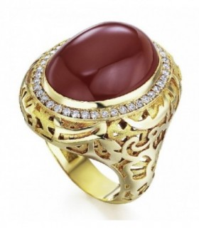 Yellow gold ring with Cornelian and Diamonds