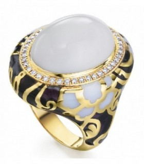Yellow gold ring with white Agate, enamel and Diamonds