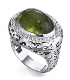 White gold ring with Diamonds and green Tourmaline