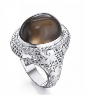 White gold ring with Diamonds and Smokey quartzs