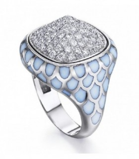 White gold ring with enamel and Diamonds