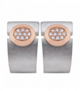 Rose gold and silver earrings with Diamonds