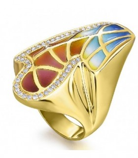 750 gold ring with enamel and diamonds 0,34 cts