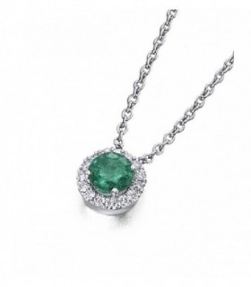White gold pendant with Diamonds and Emerald