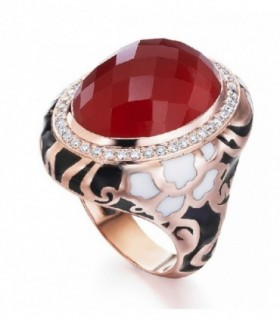 Rose gold ring with enamel, Cornelian and Diamonds