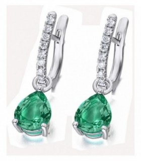 White gold earrings with Emerald and Diamonds
