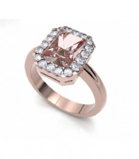 Rose gold ring with Morganite and halo Diamonds