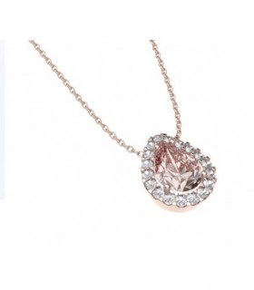 White gold pendant with Diamonds and Morganitte