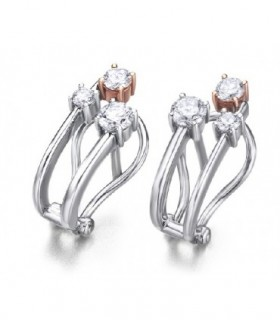 Rose and white gold earrings with Diamonds