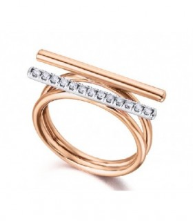 White and rose gold ring with Diamonds