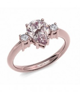 Rose gold ring with Diamonds and Morganite