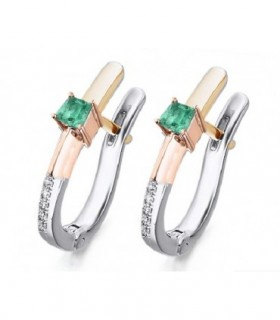 Rose and white gold earrings with Diamonds and Emeralds