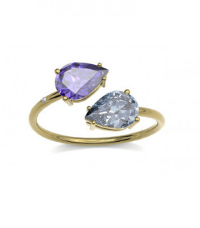 Yellow gold ring with Diamonds, Amethyst and Topaz