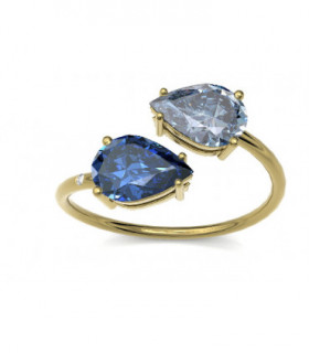 Yellow gold ring with Diamonds, Sapphire and Topaz
