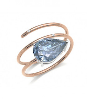 Rose gold ring with Diamonds and  Aquamarine