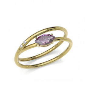 Yellow gold ring with Diamonds and Rhodolite